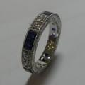 Vintage design sapphire and diamond platinum anniversary ring
