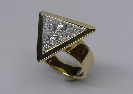 Contemporary abstract design diamond dress ring